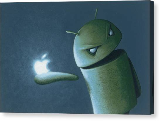 Logo Canvas Print - Android Vs Apple by Jasper Oostland