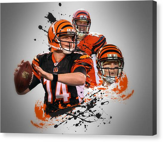 Cincinnati Bengals Canvas Print - Andy Dalton Bengals by Joe Hamilton