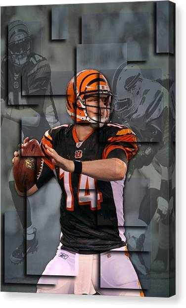 Cincinnati Bengals Canvas Print - Andy Dalton Cincinnati Bengals Blocks by Joe Hamilton