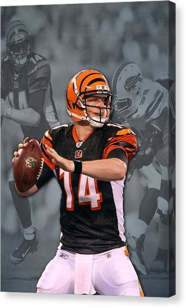 Cincinnati Bengals Canvas Print - Andy Dalton Cincinnati Bengals by Joe Hamilton