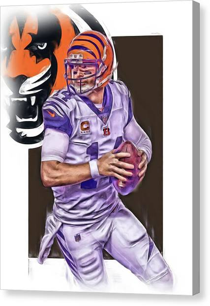 Cincinnati Bengals Canvas Print - Andy Dalton Cincinnati Bengals Oil Art by Joe Hamilton