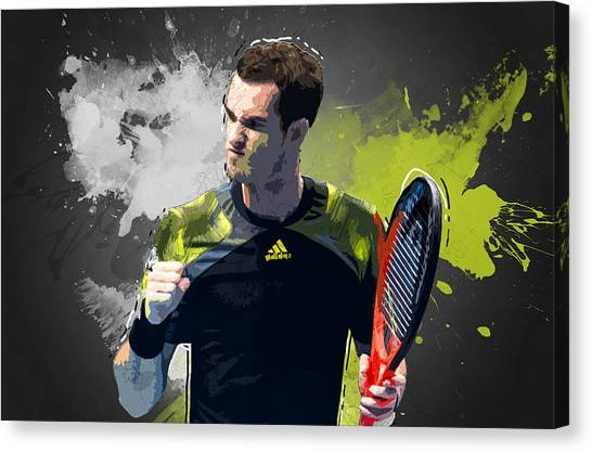 Roger Federer Canvas Print - Andy Murray by Semih Yurdabak