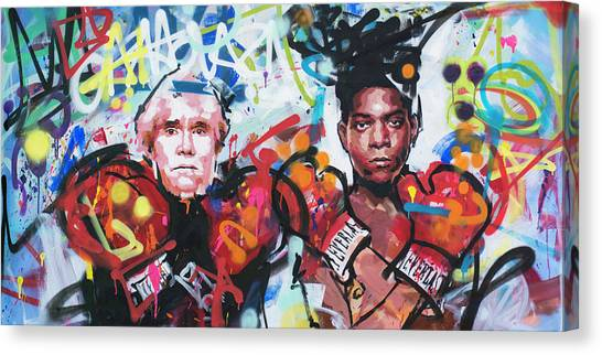 Andy Warhol Canvas Print - Andy Warhol And Jean-michel Basquiat by Richard Day
