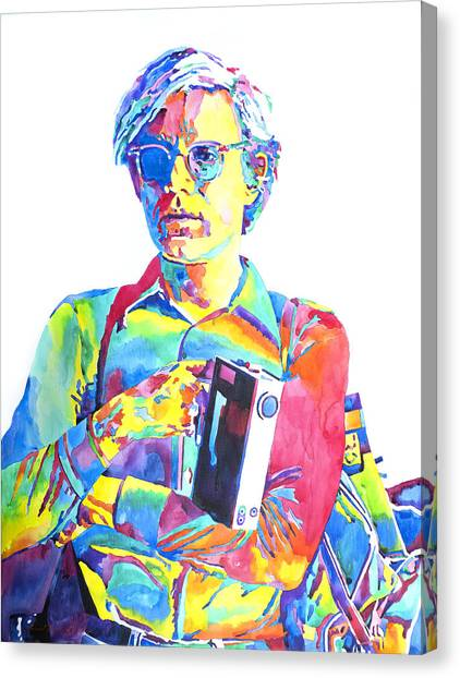 Andy Warhol Canvas Print - Andy Warhol - Media Man by David Lloyd Glover