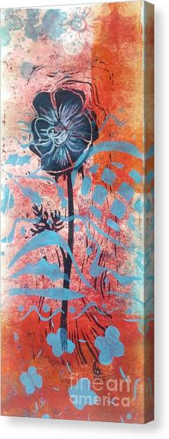 Anemone In Orange And Blue Canvas Print