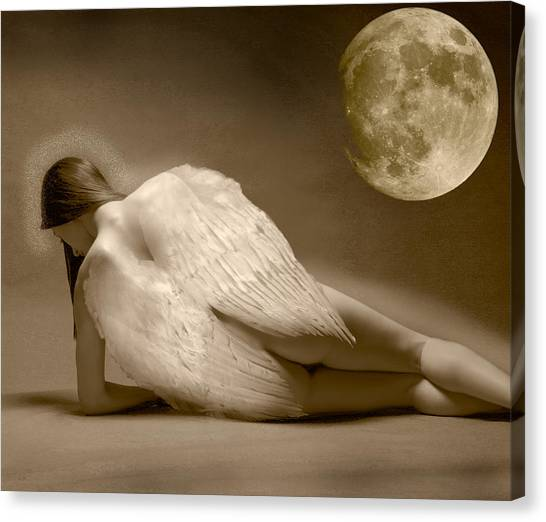 Angel And Moon Canvas Print by Gustavo Fortunatto