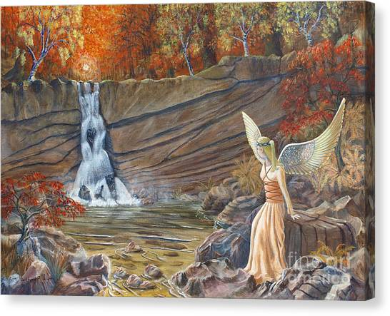 Angel At The Waterfall Canvas Print