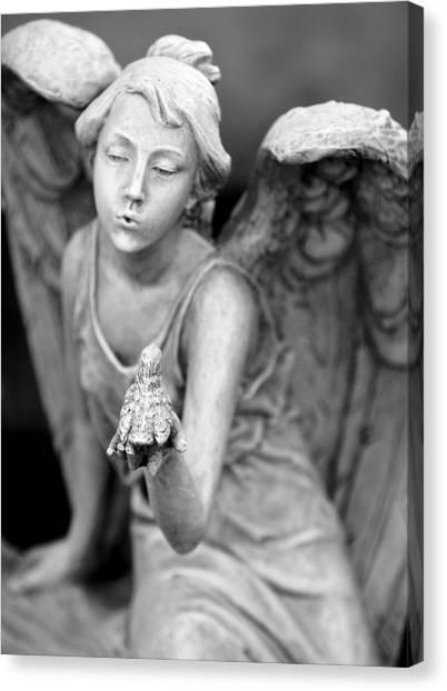 Angel Blowing Kisses Canvas Print by Gwen Allen