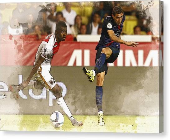 Zlatan Ibrahimovic Canvas Print - Angel Di Maria Shoot The Ball by Don Kuing