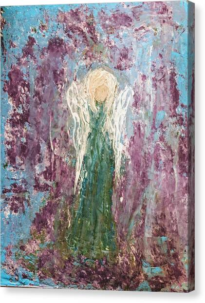 Angel Draped In Hydrangeas Canvas Print