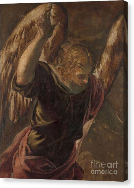 The Annunciation Canvas Print - Angel From The Annunciation To The Virgin by Jacopo Robusti Tintoretto