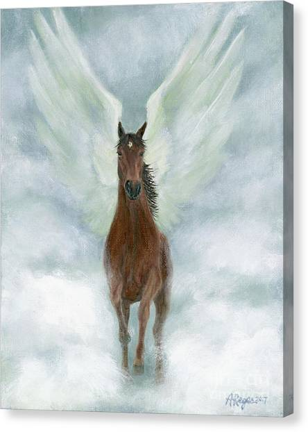 Angel Horse Running Free Across The Heavens Canvas Print