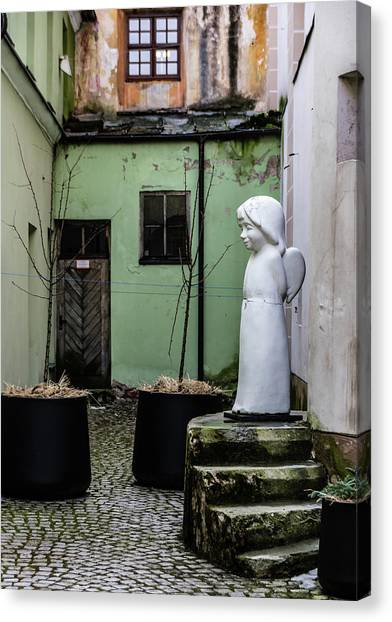 Canvas Print - Angel In Courtyard by Steven Richman
