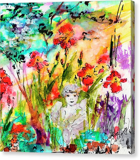 Angel In The Garden Watercolor Canvas Print
