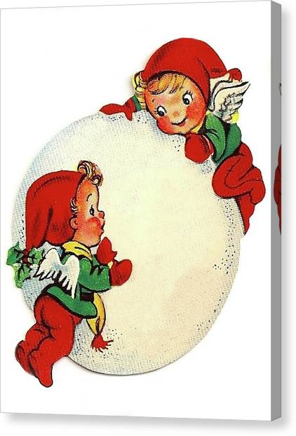 Snowball Canvas Print - Angel Kids With Big Snowball by Long Shot