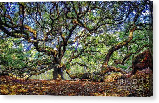 Angel Oak In Digital Oils Canvas Print