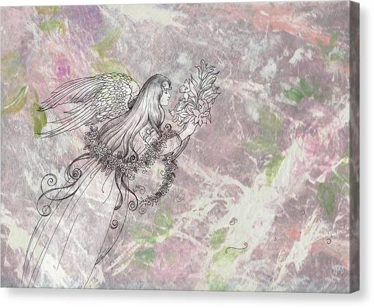 Canvas Print featuring the painting Angel On Pink And Green Florals by Judith Cheng