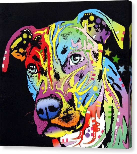 Pit Bull Canvas Print - Angel Pit Bull by Dean Russo Art