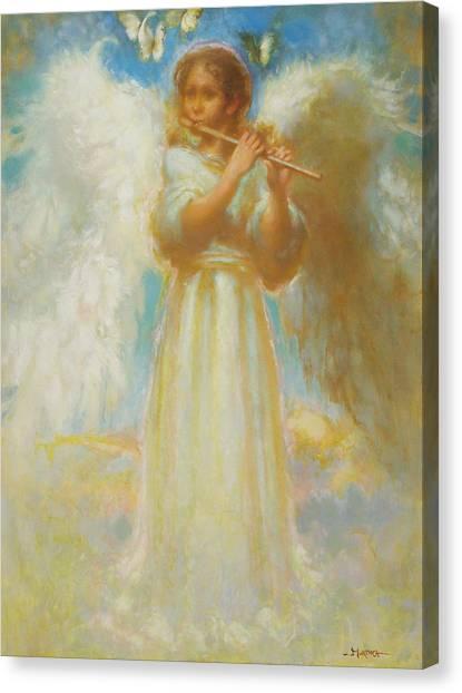 Angel Playing Flute Canvas Print by John Murdoch