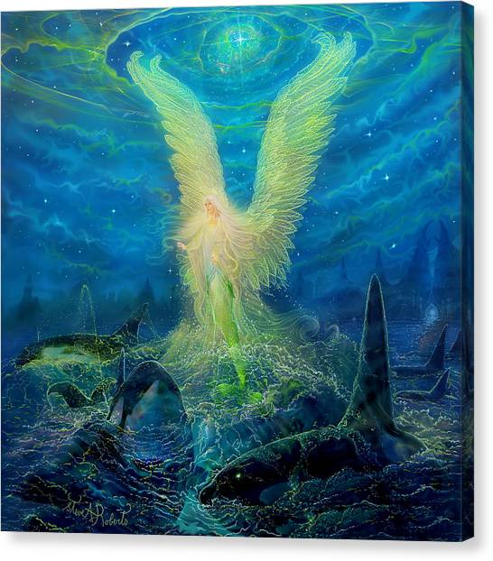 Orcas Canvas Print - Angel Tarot Card Mermaid Angel by Steve Roberts