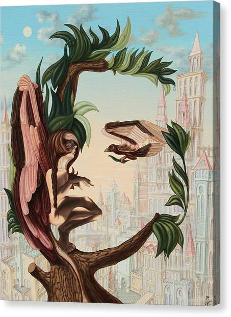 Angel, Watching The Reincarnation Of Marilyn Monroe On The Swinging City Towers Canvas Print
