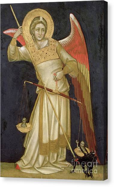 Equilibrium Canvas Print - Angel Weighing A Soul by Ridolfo di Arpo Guariento