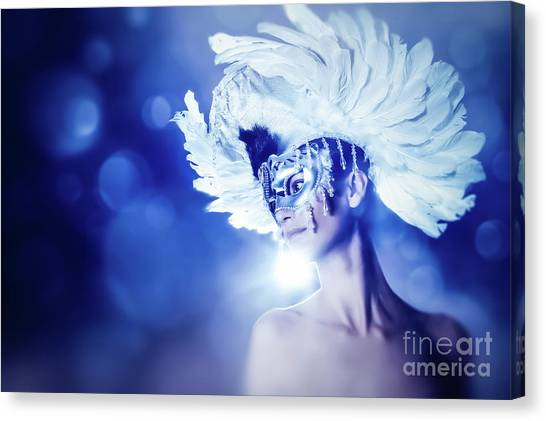 Canvas Print featuring the photograph Angel Wings Venetian Mask With Feathers Portrait by Dimitar Hristov