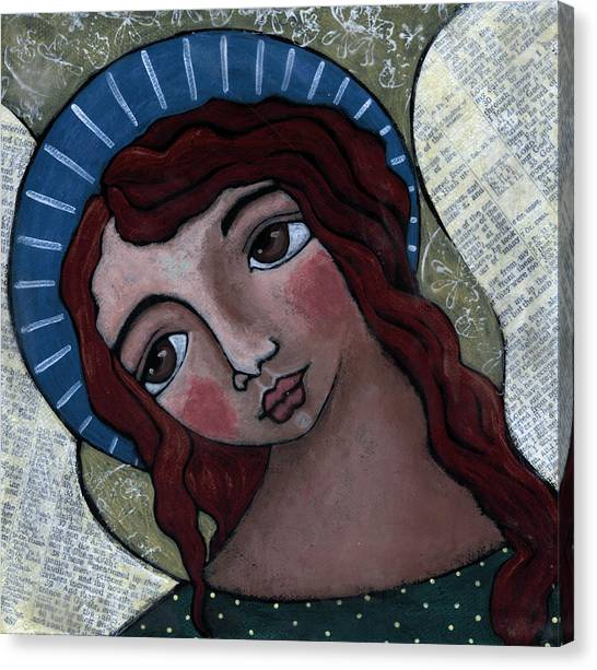 Angel With Blue Halo Canvas Print by Julie-ann Bowden