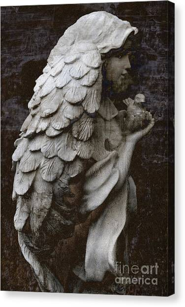 Angel Art By Kathy Fornal Canvas Print - Angel With Dove Of Peace - Angel Art Textured Print by Kathy Fornal