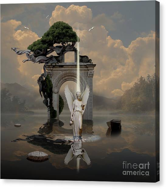 Canvas Print featuring the digital art Angel With Life Elixir by Alexa Szlavics
