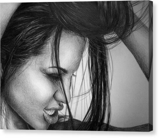 Celebrities Canvas Print - Angelina Jolie by Jennifer Bryant