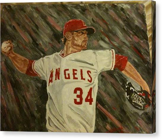 Oakland Athletics Canvas Print - Angels 34 First Pitch by Daryl Williams Jr