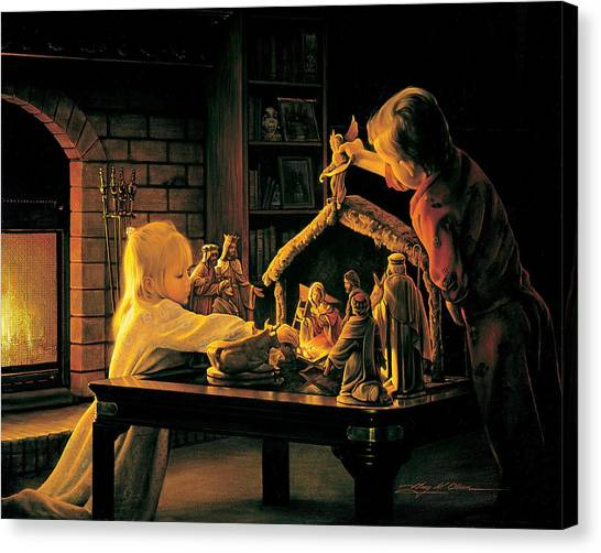 Fire Canvas Print - Angels Of Christmas by Greg Olsen