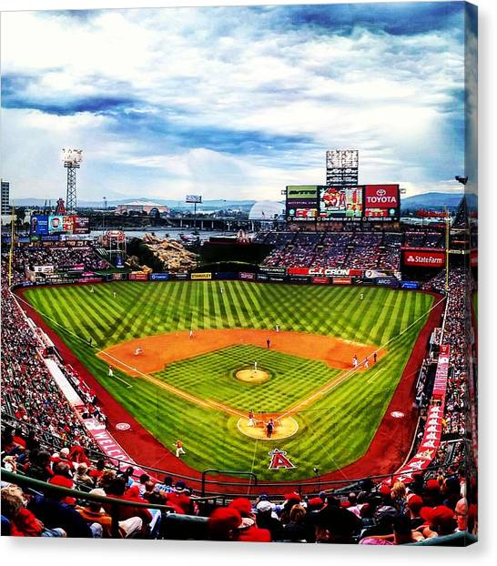 Los Angeles Angels Canvas Print - Angels Stadium by Adam Milsted