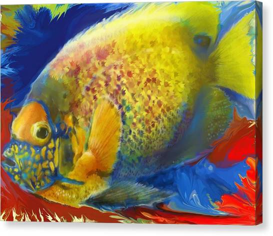 Anglefishes Canvas Print - Anglefish In Blue by David Raderstorf