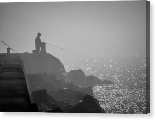 Angling In A Fog  Canvas Print