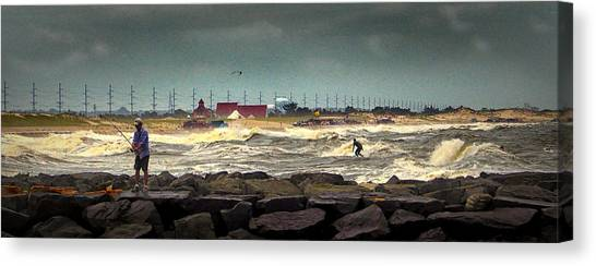 Angry Surf At Indian River Inlet Canvas Print