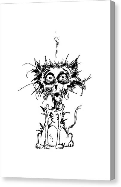 Fuzzy Canvas Print - Angst Cat by Nicholas Ely