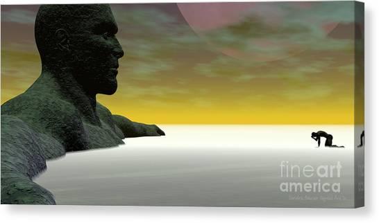 Canvas Print featuring the digital art Anguish by Sandra Bauser Digital Art