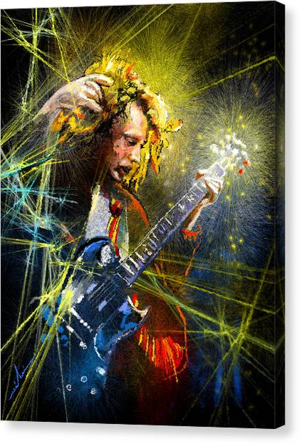 Ac Dc Canvas Print - Angus Young by Miki De Goodaboom
