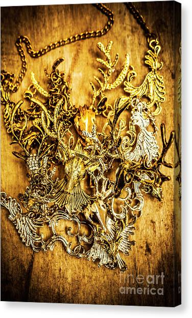 Gold Earrings Canvas Print - Animal Amulets by Jorgo Photography - Wall Art Gallery