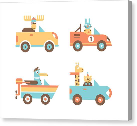Rabbit Canvas Print - Animal Cars by Mitch Frey