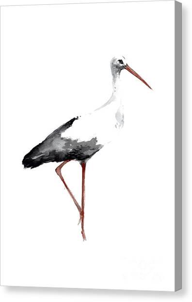 Storks Canvas Print - Drawing, Animal Bird, Stork Art Print, Watercolor Poster, Bird Painting, Kids Room Decor by Joanna Szmerdt