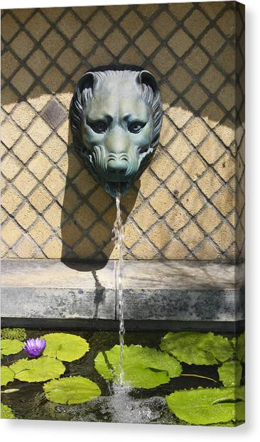J Paul Getty Canvas Print - Animal Fountain Head by Teresa Mucha