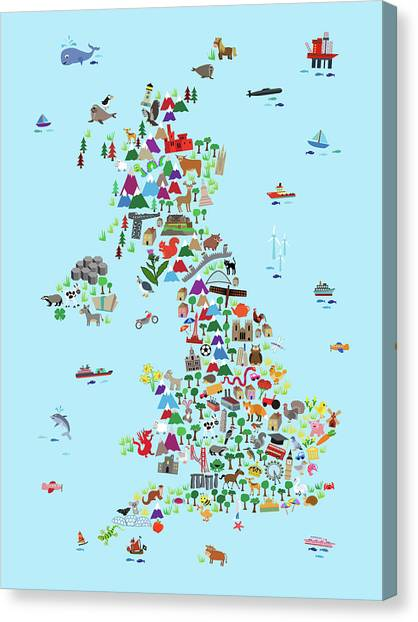England Canvas Print - Animal Map Of Great Britain And Ni For Children And Kids by Michael Tompsett