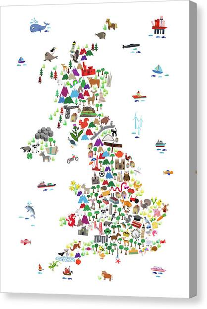England Canvas Print - Animal Map Of Great Britain For Children And Kids by Michael Tompsett