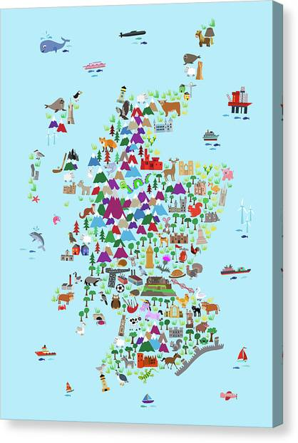 Scotland Canvas Print - Animal Map Of Scotland For Children And Kids by Michael Tompsett