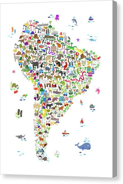 Venezuelan Canvas Print - Animal Map Of South America For Children And Kids by Michael Tompsett