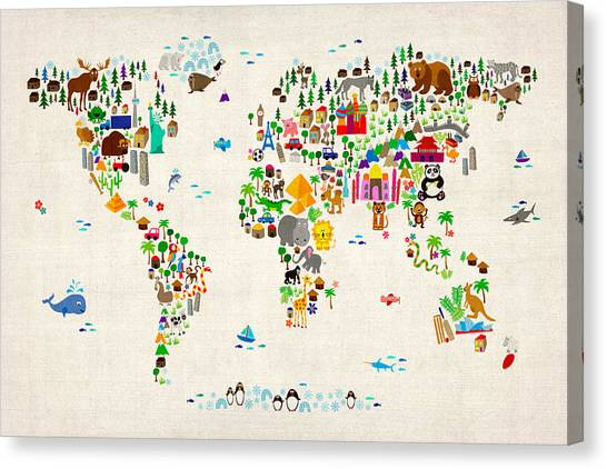 Map Canvas Print - Animal Map Of The World For Children And Kids by Michael Tompsett