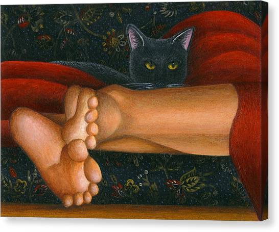 Ankle View With Cat Canvas Print by Carol Wilson